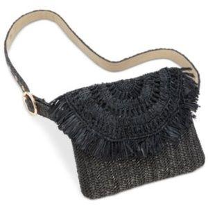 INC Straw Fringe Belt Bag Black (No Belt)